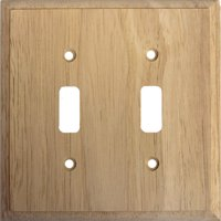 Traditional Unfinished Wooden Double Toggle Light Switch Cover