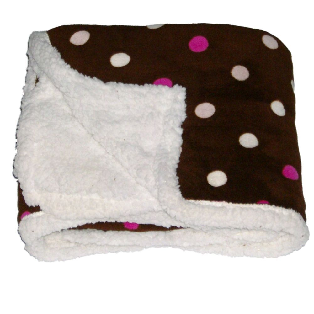 Northpoint Pearlie Micro Sherpa Fleece Micromink Throw Blanket Pink Dots