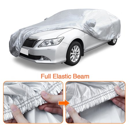 3XXL Silver Tone 170T Car Cover Waterproof Snow Heat Resistant w Mirror Pocket - image 9 of 9