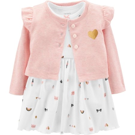 73efb70b2e86 Carters - Carters Baby Girls Kitty Cardigan Bodysuit Dress Set 9 Months  White/pink/gold - Walmart.com