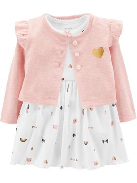 fffce99c5 Product Image Carters Baby Girls Kitty Cardigan Bodysuit Dress Set