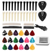 Acoustic Folk Guitar Accessories Kit Including Pins + Guitar Nuts + Celluloid Picks + Guitar Pick Holders + Pin Puller