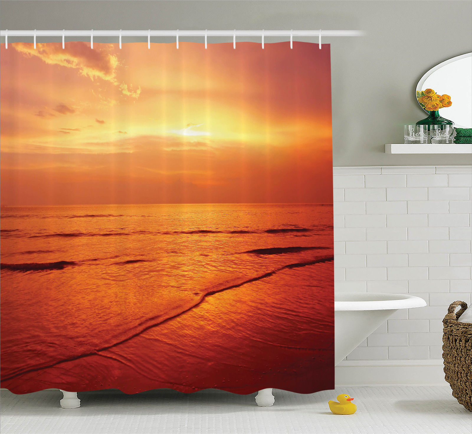Ocean Decor Shower Curtain Set, Twilight Seascape At Karon Beach Thailand Exotic Vacation Getaway Destination Picture, Bathroom Accessories, 69W X 70L Inches, By Ambesonne