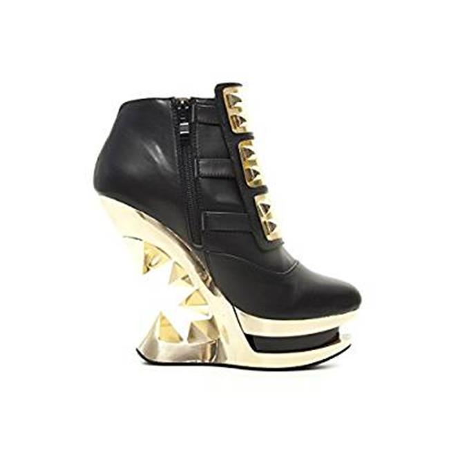 GLEAM-BLK-8 Gleam Ankle Boot with Golden Womens, Iceberg Wedge Shoes for Womens, Golden Black - Size 8 44ce02