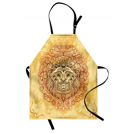 Safari Apron Zodiac Lion Baroque Motifs on Grunge Aged Background Pride Sign Astrology Theme, Unisex Kitchen Bib Apron with Adjustable Neck for Cooking Baking Gardening, Yellow Orange, by (Lions Apron Set)