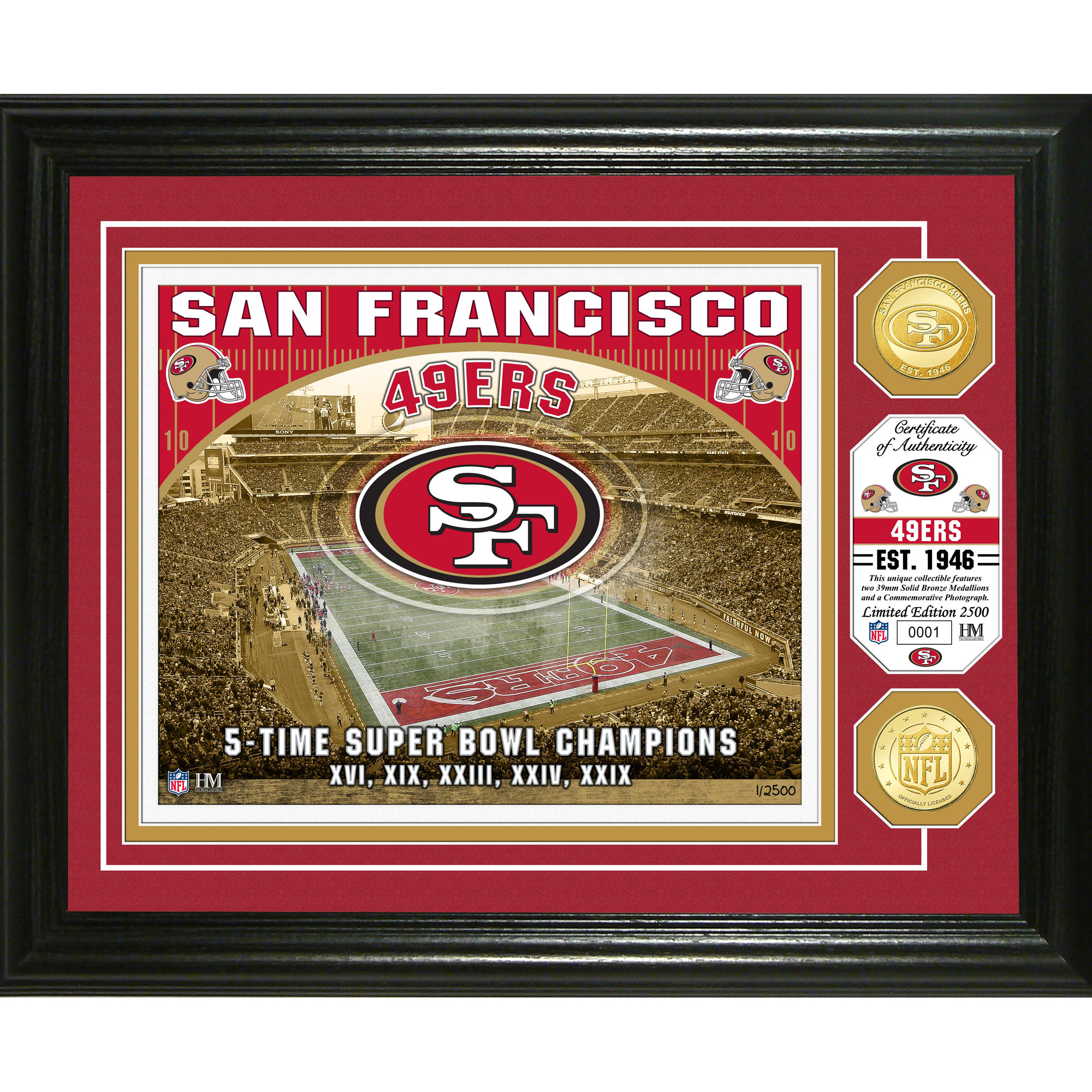 "San Francisco 49ers Highland Mint 13"" x 16"" Stadium Photo Mint - No Size"