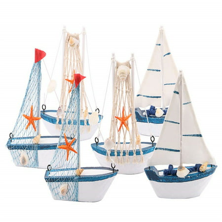 Nautical Decor - Wooden Sailing Boat Model Mini, Handmade Vintage Nautical Wood Sailing Boat Decoration for Table Ornament, Photo Props, Beach Ocean Theme Party and Room Decor, Pack of 6 - Beach Theme Decorations