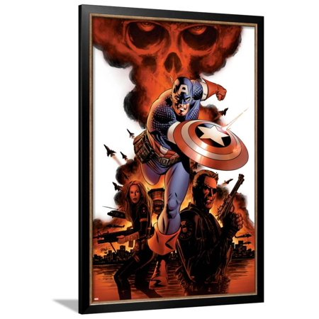 Captain America No.1 Cover: Captain America, Nick Fury and Black Widow Framed Poster Wall Art By Steve Epting - Captain America And Black Widow