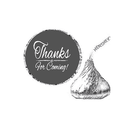 216ct Grey Thanks for Coming Party Favor Hersheys Kisses Candy Decoration Stickers / Labels (Silver Stars Decorations)