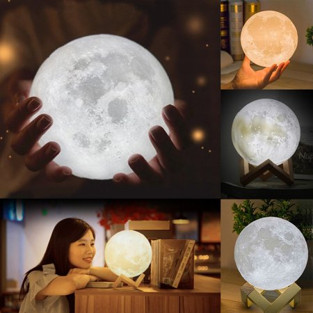 3D Magical Moon Lamp USB LED Night Moonlight Gift Touch Sensor Color Changing Dimmable  (15cm) (Moonlight Night Light)