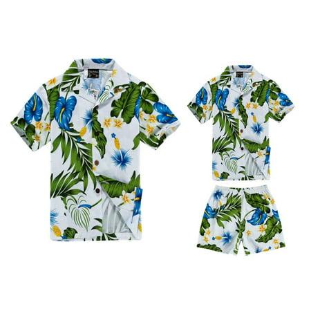 Matching Father Son Hawaiian Luau Outfit Men Shirt Boy Shirt Shorts White Blue Calla S-4](Luau Menu)