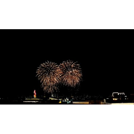 Canvas Print Night Brittany Brest Bay of Brest Fireworks France Stretched Canvas 10 x