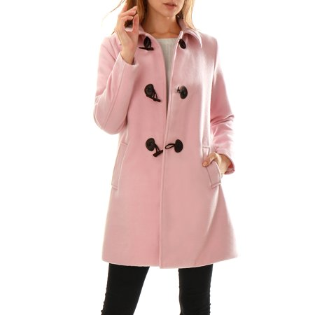 Allegra K Women's Turn Down Collar A-line Long Sleeves Toggle Coat Pink (Size S / 4)