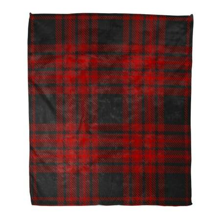 LADDKE Flannel Throw Blanket Red Christmas Plaid Pattern Printing Pattern in Burgundy and Black Dark Tartan 50x60 Inch Lightweight Cozy Plush Fluffy Warm Fuzzy Soft
