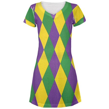 Cheap Mardi Gras Dresses (Mardi Gras Jester Costume Juniors V-Neck Beach Cover-Up)