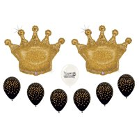 "36"" Glittering Gold Crowns with Confetti Gold on Black Latex Balloons Bundle"
