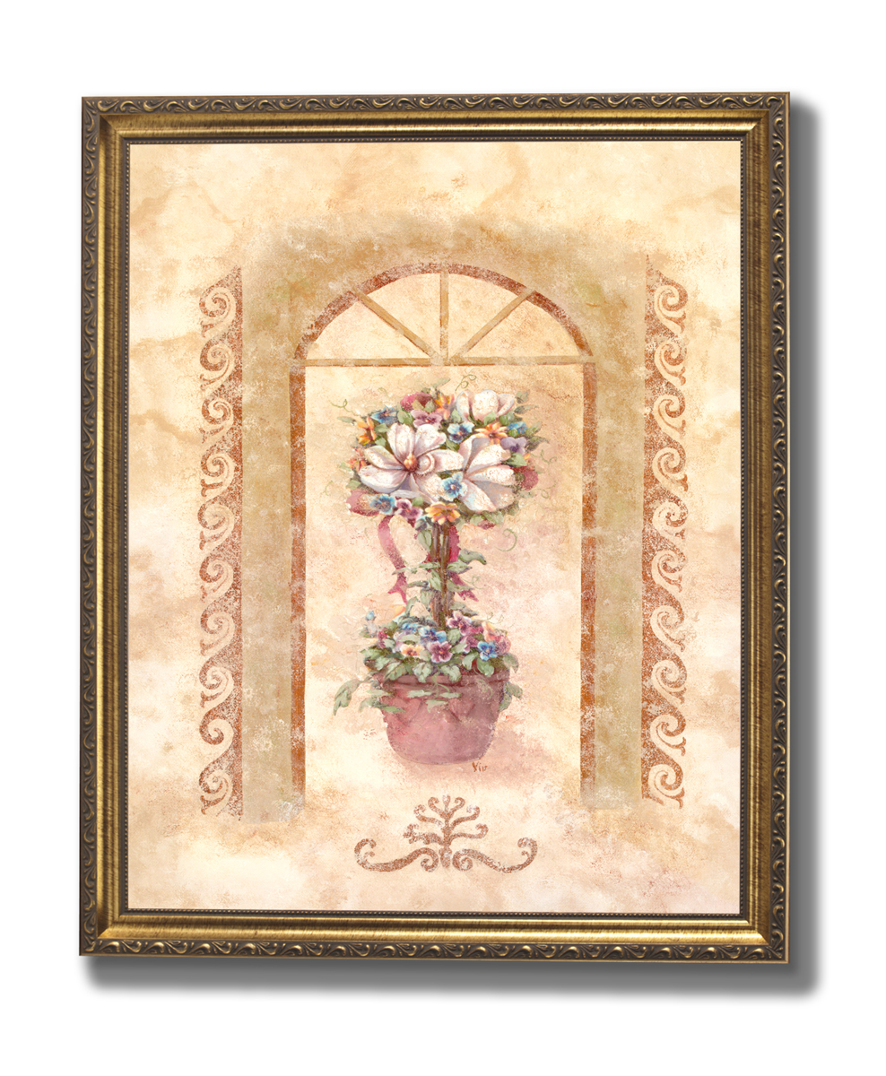 White Topiary Under Arches Floral Home Decor Wall Picture Gold ...