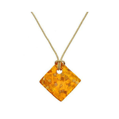 Vivid Gemz Murano Glass 14K/925 Gold Plated Silver Rubber Necklace