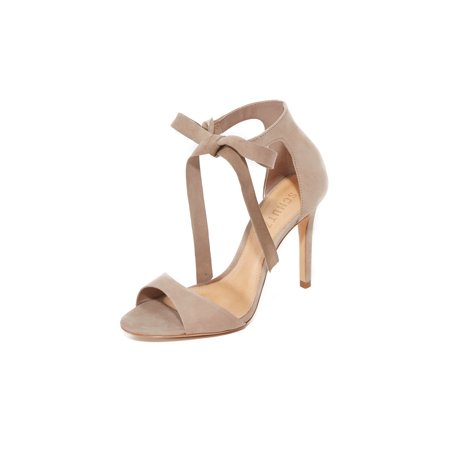 Schutz Rene Natural Open Toe Wrap Ankle Covered Heel Leather Sole Heeled Sandals