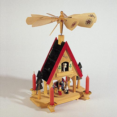 """12"""" Wooden Alpine Windmill Christmas Nativity Carousel Table Top Candle Holder"""