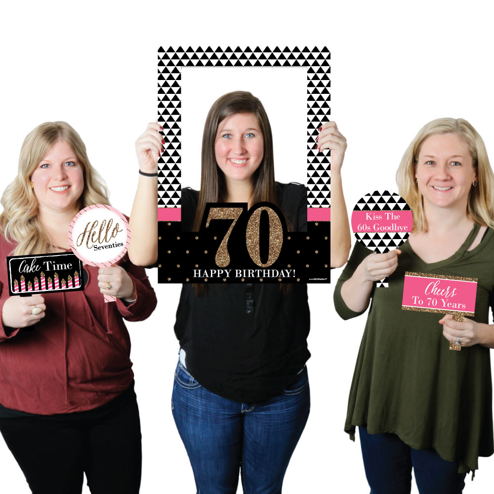 Chic 70th Birthday - Birthday Party Selfie Photo Booth Picture Frame & Props - Printed on Sturdy Material