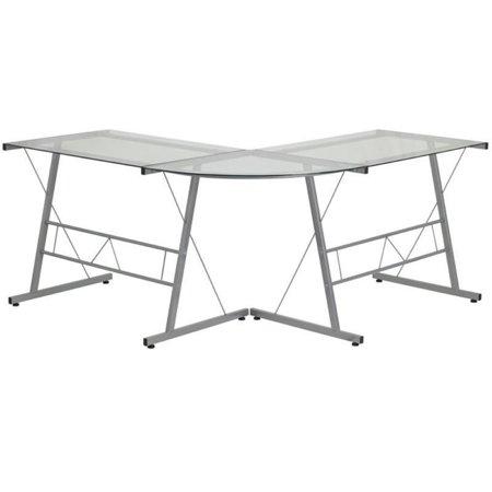 Scranton & Co Glass Top L-Shaped Computer Desk in Silver - image 1 de 2