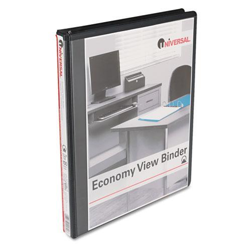 "Economy Round Ring View Binder, 1/2"" Capacity, Black"