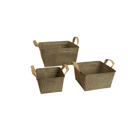 WaldImports 3 Piece Square Galvanized Bucket with Burlap Handle Set