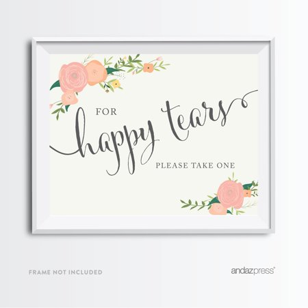 For Happy Tears Tissue Floral Roses Wedding Party Signs (Happy Tears)