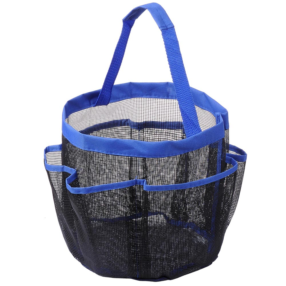 8 Pockets Mesh Shower Caddy Tote Quick Dry Rustproof Bath Organizer Bathroom Travel Gym Camping Blue