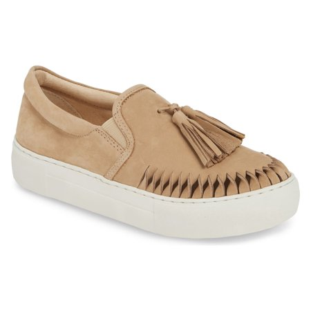 Aztec Sand Nude Leather Loafer White Platform Tassel Slip-On Sneaker