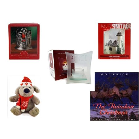 Christmas Fun Gift Bundle [5 Piece] - Home For The s Nativity Votive Holder - Let It Snow Glass Ornament Church - Etched Glass
