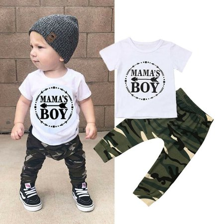 2pcs MAMAS Boy Kids Baby Boy Tops T-shirt Camouflage Long Pants Outfit Set White 18-24 Months thumbnail