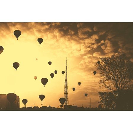Flight Hot Air Balloons (Canvas Print Silhouette Flight Hot Air Balloons Balloon Stretched Canvas 10 x 14)