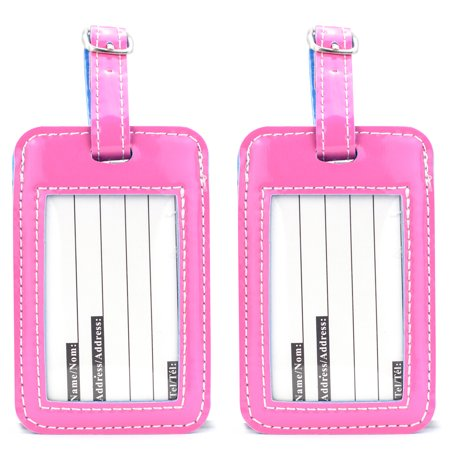 Luggage Tags - Two Tone Travel ID Bag Tags - 2 Set ( Pink- Light Blue)
