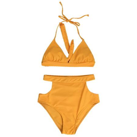 Sexy Women High Waist Bikini Set Halter Straps Cut Out Side Backless Two Piece Swimsuit Swimwear (Out 2 Piece Set)