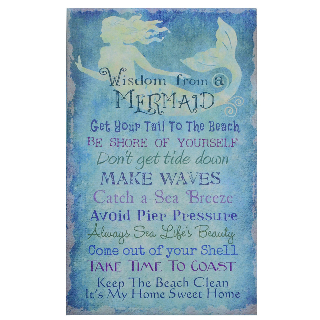 Advice From a Mermaid Blue Canvas Wall Artwork Sign Beach Seaside Coastal Home Decor by Timeless by Design