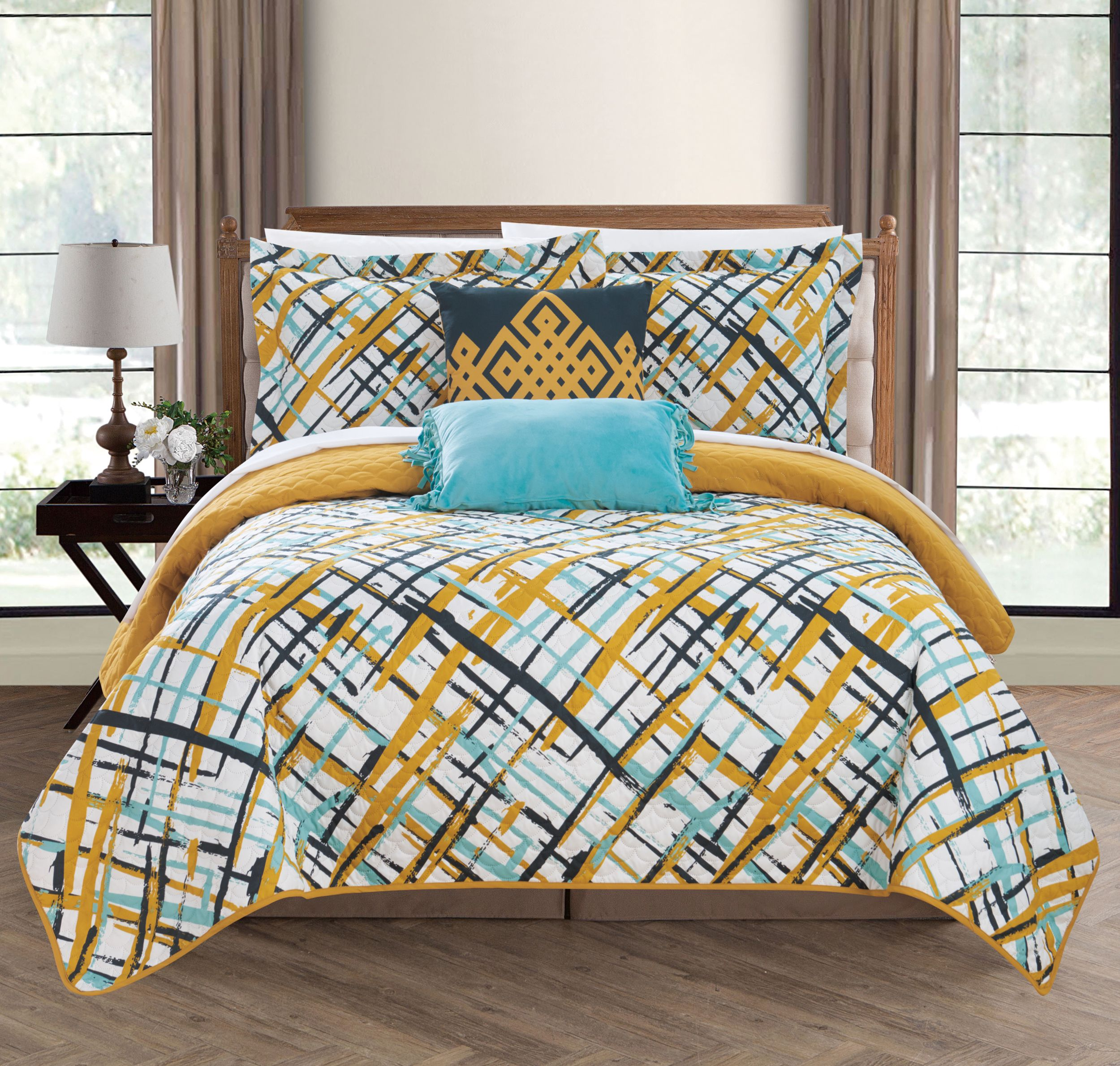 Chic Home Shane 5 Piece Reversible Quilt Set Abstract Design Coverlet Bedding