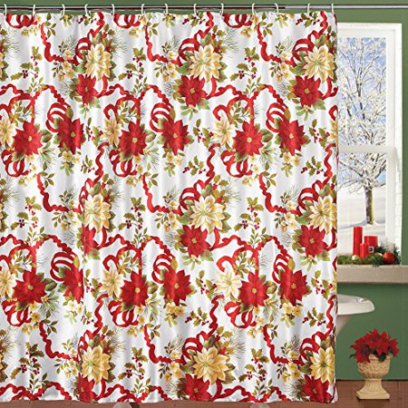 Collections Etc Holiday Poinsettia Ribbon Shower Curtain