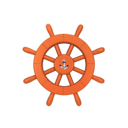 "Orange Decorative Ship Wheel With Anchor 12"" - Nautical Wall Decoration - Coastal Living"