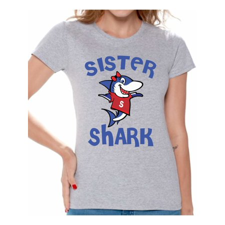 Awkward Styles Sister Shark Tshirt for Women Shark Family Shirts Matching Shark T Shirts for Family Shark Gifts for Her Shark Themed Party Outfit](60s Themed Clothing)