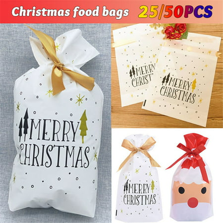 Christmas Candy Bag Party Bags Candy Goodies Plastic Drawstring Gift Bags Merry Christmas Treat Bags for Birthday Party Snack Wrapping Wedding Gift Party Favor Merry X-mas, 25/50 Pack ()