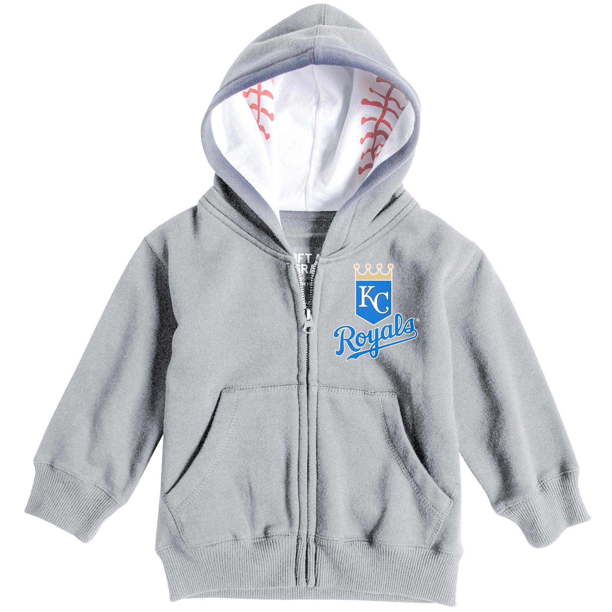 Kansas City Royals Soft as a Grape  Infant Baseball Print Full-Zip Hoodie - Heathered Gray