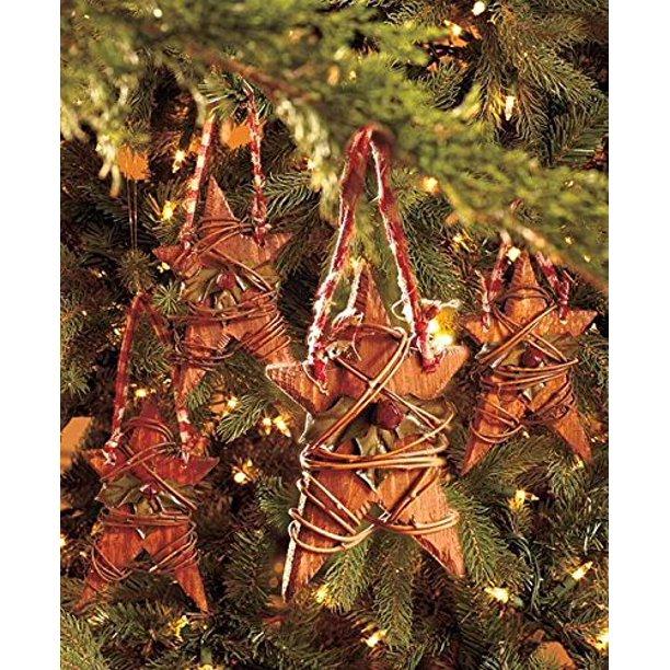 Set Of 4 Country Wood Stars Christmas Tree Ornaments Rustic Americana Home Decor Walmart Com Walmart Com