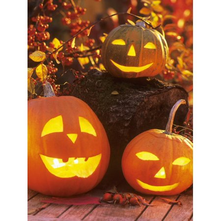 Halloween: Hollowed Out Pumpkins with Candles Print Wall Art By Friedrich Strauss