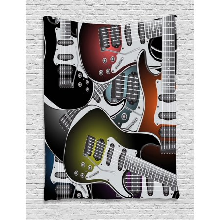 Popstar Party Tapestry, Pile of Graphic Colorful Electric Guitars Rock Music Stringed Instruments, Wall Hanging for Bedroom Living Room Dorm Decor, Multicolor, by Ambesonne](Rock And Roll Wall Decor)
