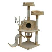 Go Pet Club Cat Tree Furniture 55 in. High - Pie Loft Beige