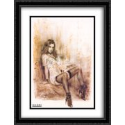 Alone 2x Matted 28x40 Large Black Ornate Framed Art Print by Luis Royo
