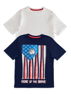 Way to Celebrate Boys Graphic Patriotic Short Sleeve T-Shirt 2 Pack Sizes 4-18 & Husky