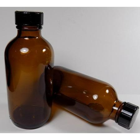 8 Ounce Glass Medicine Boston Round Bottles and Caps Heavy Dark Amber Pharmaceutical Grade 12 -